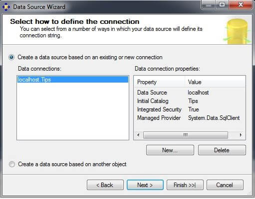 "If a Data connection does not exist, click on ""New..."""