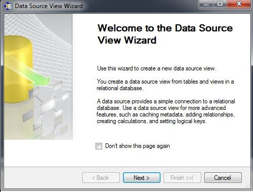 "choose ""New Data Source View..."""