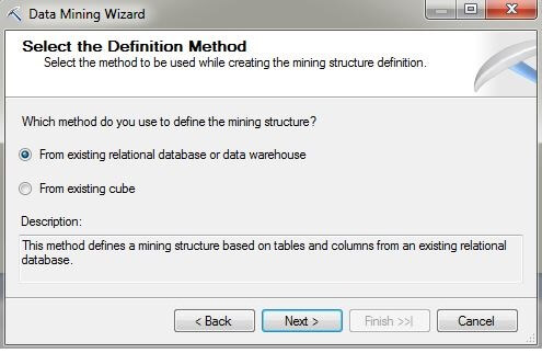 "On the Select the Definition Method page, press the radio button labeled ""From existing relational database or data warehouse""."