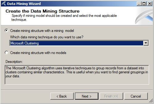 "Choose the ""Microsoft Clustering"" data mining technique from the drop-down box."