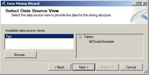 "choose ""Tips"" from the Available data source views"