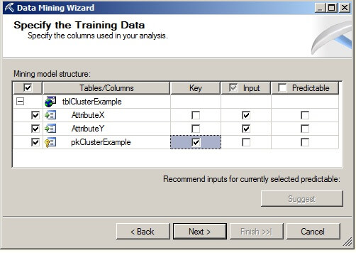 the Specify the Training Data page