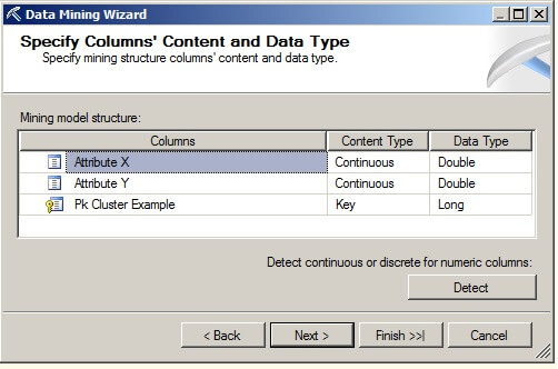 the Specify Columns' Content and Data Type page