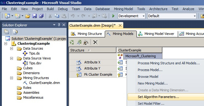 "right click on the box labeled ""Microsoft_Clustering"""