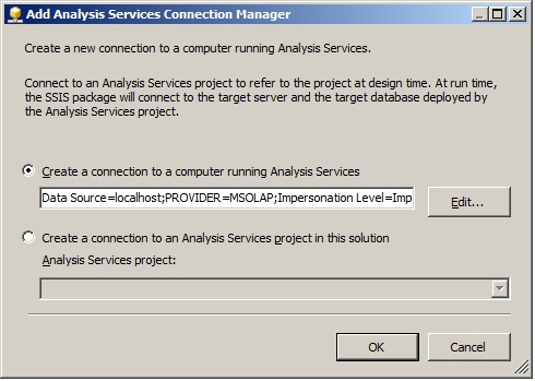 Either method will display the Add Analysis Services Connection Manager.
