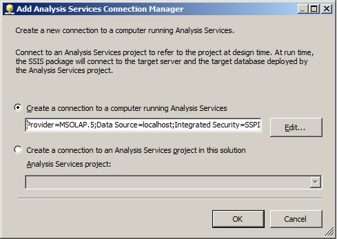 "Create a connection to a computer running Analysis Services"" radio button."