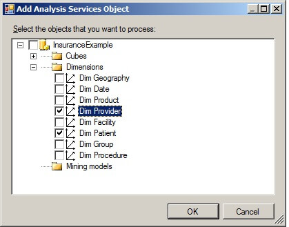 Selecting checkboxes at the dimension level will process the specified dimensions.