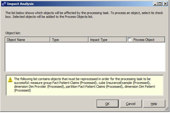 "Clicking on ""Impact Analysis"" in the Analysis Services Processing Task Editor will display a list of the objects that will be affected by the processing task."