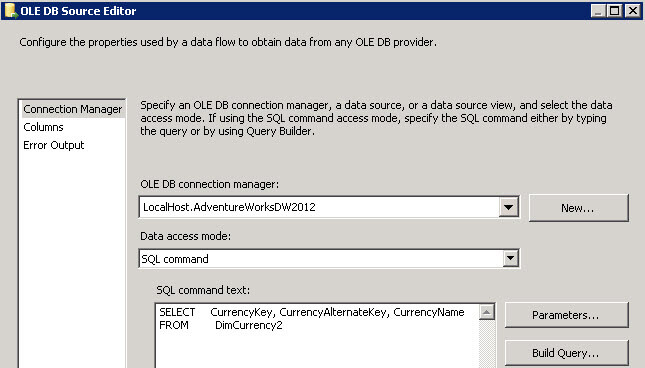 Ole DB Source Editor