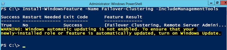 Installing the Windows Failover Clustering Feature