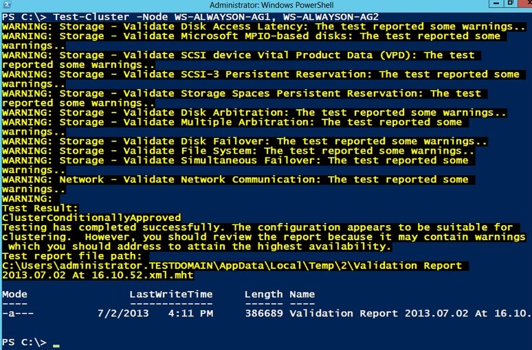 Windows Failover Cluster Validation Wizard