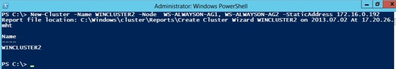 Creating the Windows Server Failover Cluster
