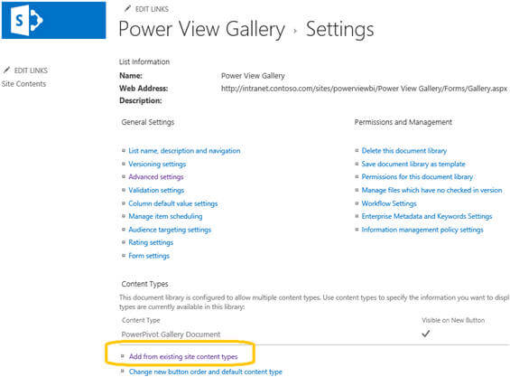 You need to add content types in order to create Power View reports