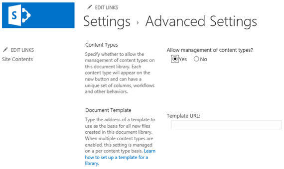 "click on the Advance Settings link and then on the Advance Settings page check ""Allow management of content types"""