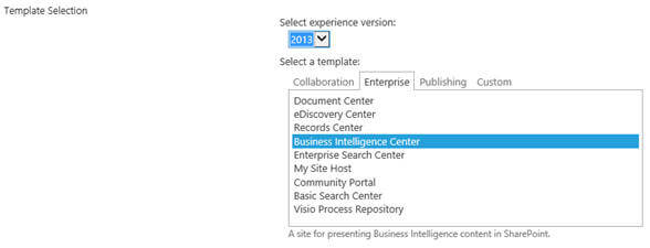 Creating a site based on Business Intelligence Center template