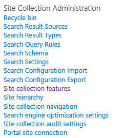under Site Collection Administration group click on the Site Collection features