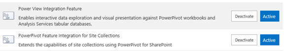 "Ensure you have ""Power View Integration Feature"" and ""PowerPivot Feature integration for Site Collections"" features activated"