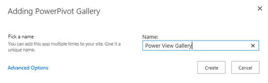 specify the name for the PowerPivot Gallery