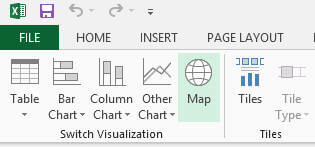 simply go to Design tab and then click on Map icon