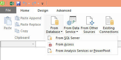click on the From Database icon and the click on From SQL Server menu item