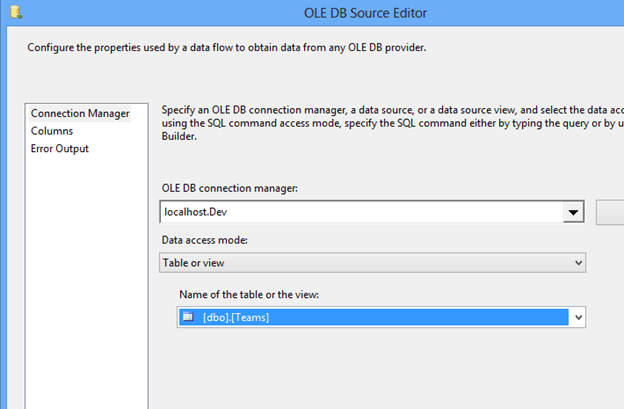 Right click the OLEDB task and choose Edit