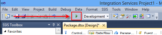 Click the play button on the toolbar to debug