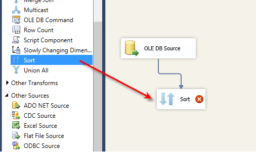 Connect the OLEDB Source task to the Sort task