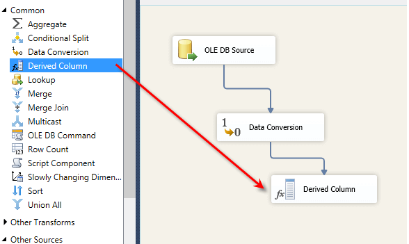 Drag the Derived Column task from the SSIS toolbox onto the design screen