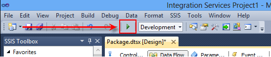 Let's view our data. Click the Start Debug button on the toolbar to debug