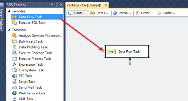 Test the connection and click OK. Next, drag a Data Flow task from the SSIS toolbox onto the design screen