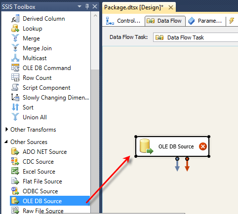 Right click the Data Flow task and choose Edit