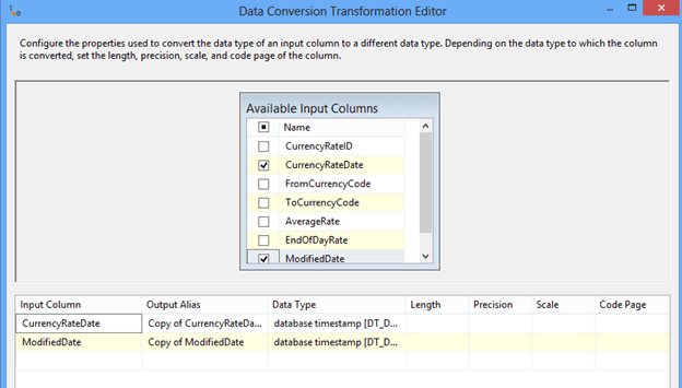 Right click the Data Conversion task and choose Edit