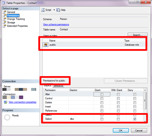 If you look at the properties for the object within SQL Server Management Studio, it may be easy to spot the issue
