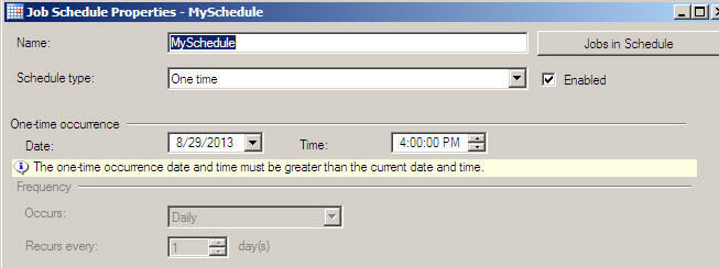 sql job schedule