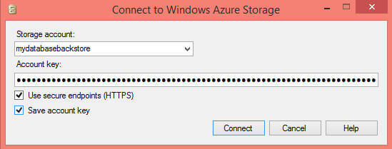 Click on Connect to the specified storage account