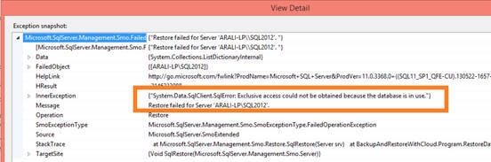 If you try to restore a database which is in use, SQL Server will throw the following exception