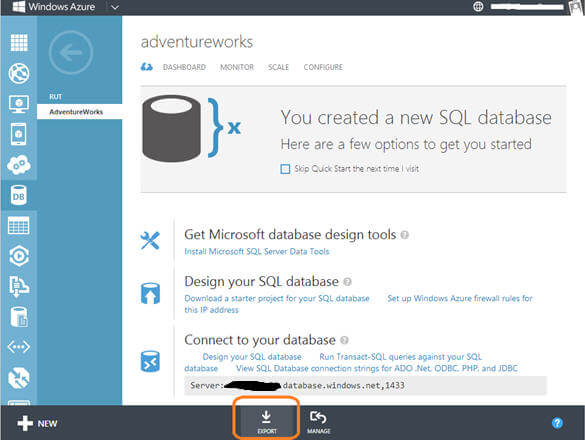 Windows Azure SQL Database - Export