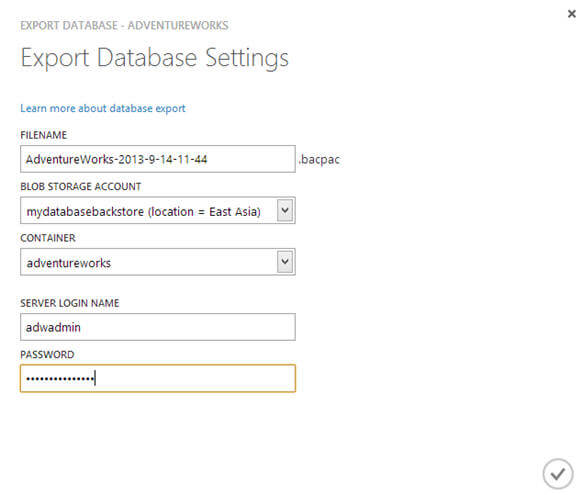 using Windows Azure portal you can only export your database to Windows Blob storage account