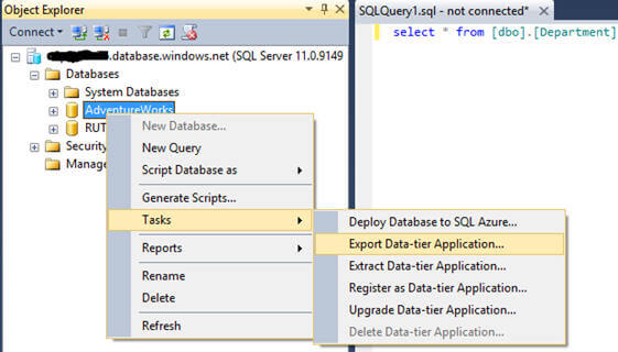 you can even use SQL Server Management Studio (SSMS) to connect to the Windows Azure SQL Database server