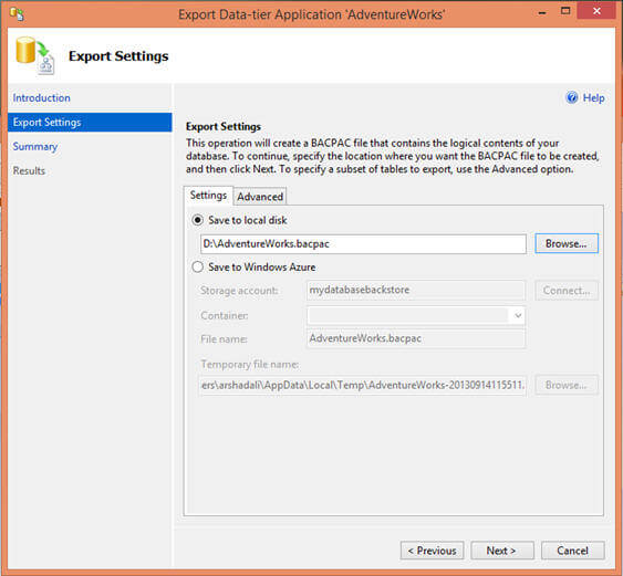 specify the location for BACPAC file which could be either local file location or Windows Azure blob storage account
