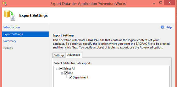 On the Advance tab of the Export Data-tier Application wizard, you can make choice of database objects which you want to export.