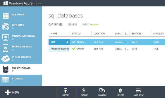 Windows Azure SQL Database - Import