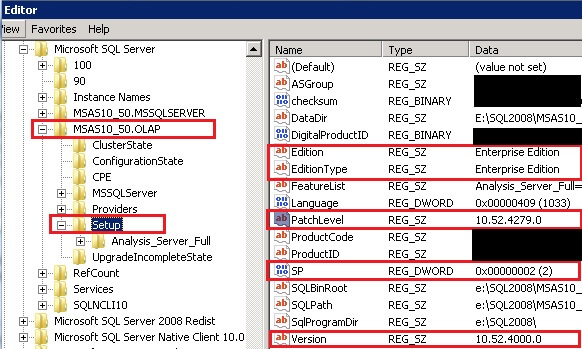 SQL Server 2008 R2 Enterprise Edition Analysis Service Patch Level and Service Pack Info