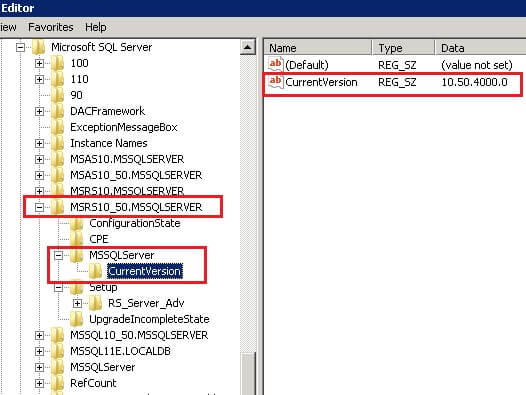 Reporting Service 2008 R2 CurrentVersion