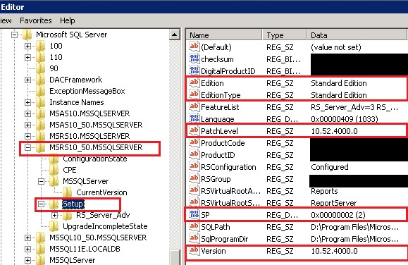 SQL Server 2008 R2 Standard Edition Reporting Service Patch Level and Service Pack Info