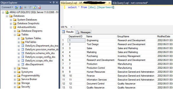 you can see data gets synchronized in the on-premises SQL Server database