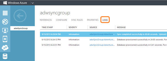 You can go to LOGS tab of the sync group to analyze the logs generated by sync service during data synchronization