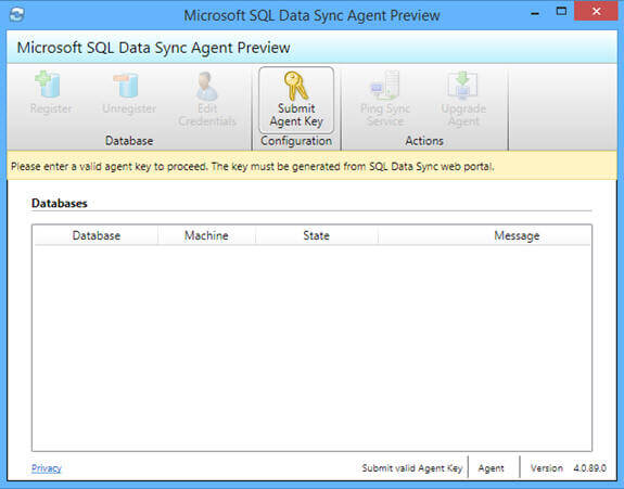 launch Microsoft SQL Data Sync Agent application