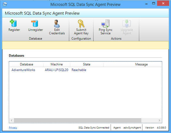 Once you have local or on-premises database registered in SQL Data Sync Agent, you can see it here