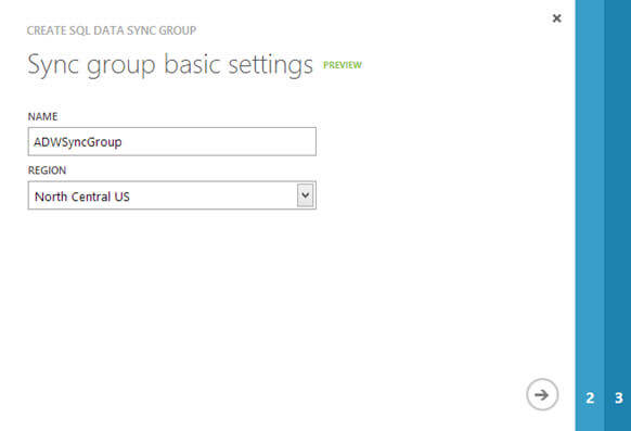 specify the name of the sync group and region where you want this sync group to be created